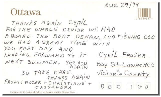 "Postcard from returning whale cruise customers"" alt=""Postcard from returning whale cruise customers"