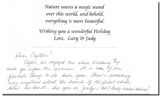 Card from long-time whale tour friends Gary and Judy