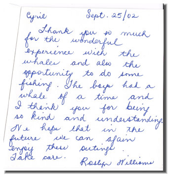 Whale Tour Testimonial from Rosalyn Williams